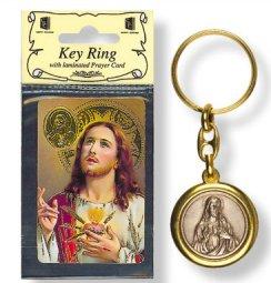 Sacred Heart of Jesus Key Chain & Prayer Card.