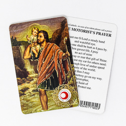 Saint Christopher Prayer Card with Relic.