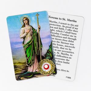 Saint Martha Prayer Card with Relic.