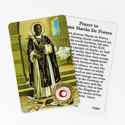 Saint Martin Prayer Card with Relic.