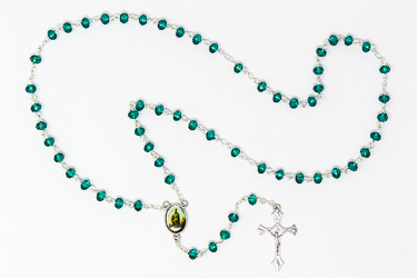 St. Patrick Glass Rosary Beads & Prayer Card.