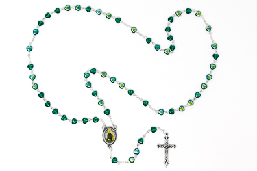 Saint Patrick Glass Rosary Beads & Prayer Card.