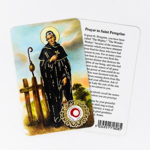 Saint Peregrine Prayer Card with Relic.