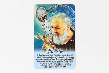 Saint Pio Prayer Card & Medal.