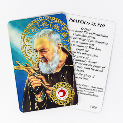 Saint Pio Prayer Card with Relic.