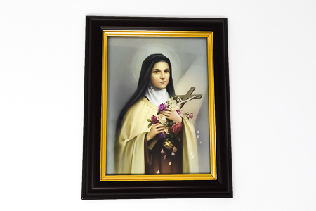 Saint Theresa Wood Framed Picture.