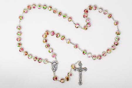 Scapular Rose Rosary - White & pink