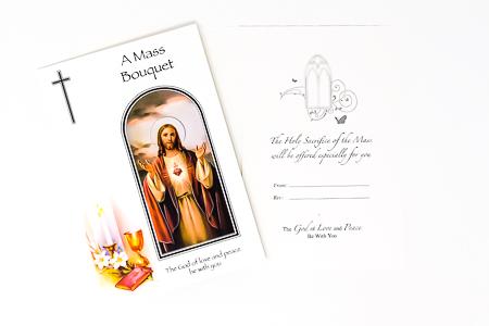 Scared Heart of Jesus Mass Bouquet Card.