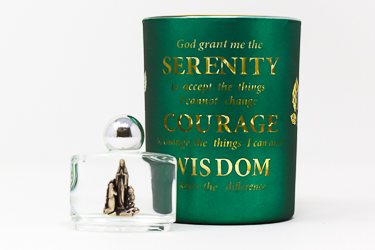 Serenity Prayer Glass Votive Light Holder.
