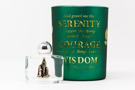 Serenity Prayer Glass Votive Light Holder.