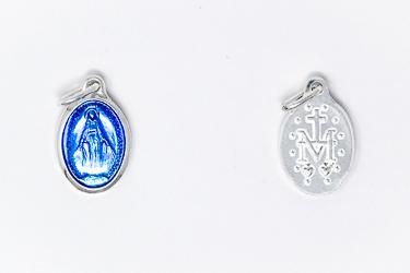 Silver Enamel Blue Miraculous Medal.