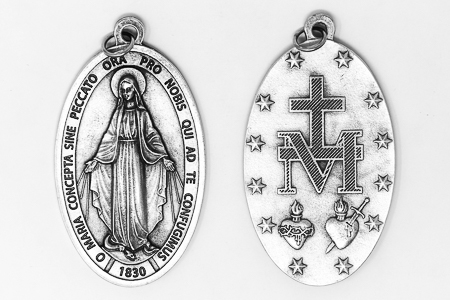 Large Silver Miraculous Medal.