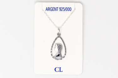 925 Sterling Silver Our Lady of Lourdes Necklace.