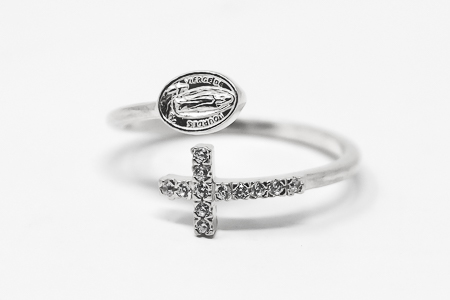 Our Lady of Lourdes Silver Ring.