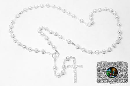 Silver Rosary Beads & Box .