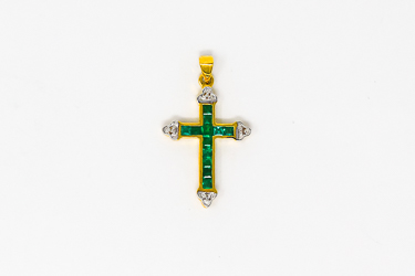 Real Emerald and Diamond Gold Cross.
