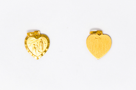 14 kt Gold Heart Apparition Medal.