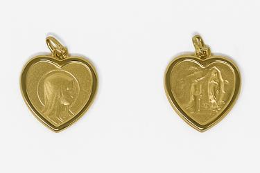 Solid Gold Heart Lourdes Medal.