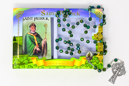 St.Patrick Booklet & Green Rosary.