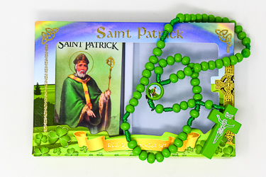 St.Patrick Booklet & Green Wooden Rosary.