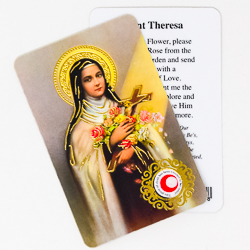 St.Theresa Prayer Card with Relic.