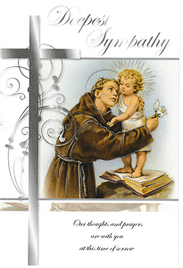 St. Anthony Deepest Sympathy Card.