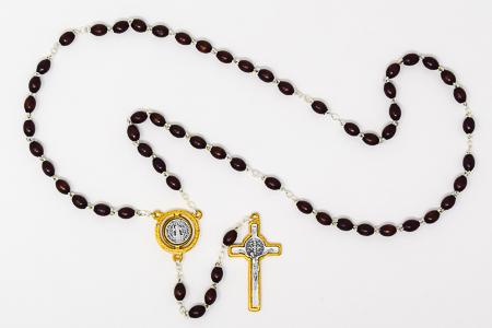 St Benedict Brown Wood Rosary.