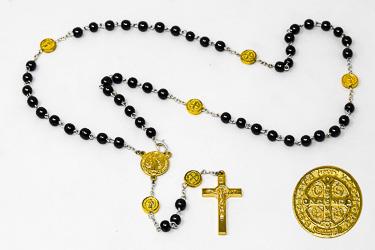 St Benedict Hematite Rosary Beads