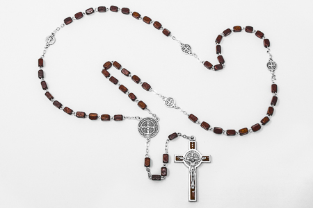 St Benedict Brown Wooden Rosary.