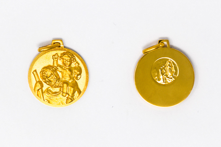 Men's Gold St. Christopher Medal.
