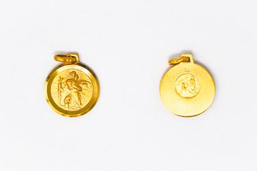 Gold St. Christopher Medal.