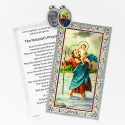 Motorist's Prayer St Christopher with Medal.