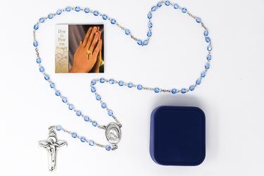 Blue Glass St Teresa Rosary Beads.