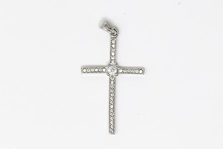 Silver Cross with Cubic Zirconium Stones.