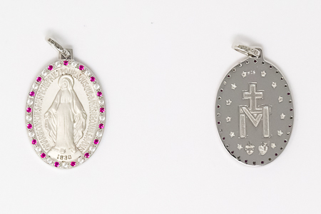 Miraculous Medal with Pink Crystals.