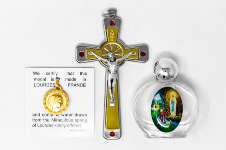 Swarovski Crucifix & Lourdes Water Gift Set.