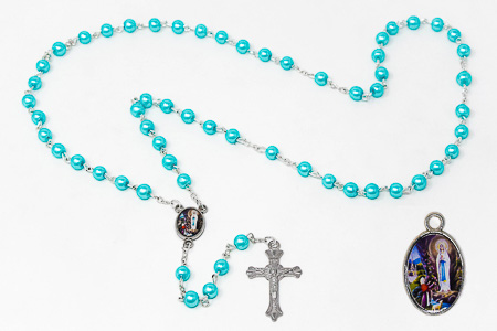 Lourdes Medal & Rosary Gift Set.