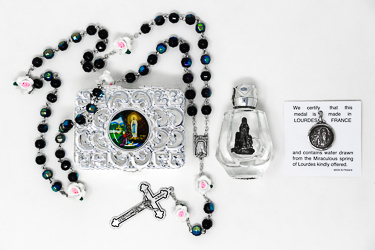 Virgin Mary Water Pendant & Rose Rosary Gift Set.