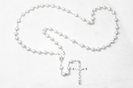 Silver Virgin Mary Rosary Beads.