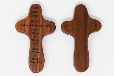 Faith Hope and Love Holding Cross.