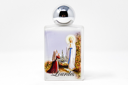 Lourdes Water in a Apparition Glass Bottle (White Top)