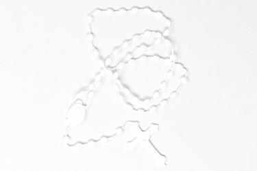 Plastic Corded White Rosary.