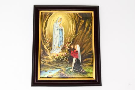 Wood Framed Lourdes Picture.