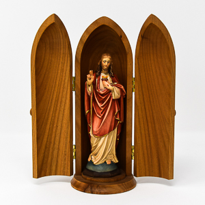 Wood Carving Statue of Scared Heart of Jesus