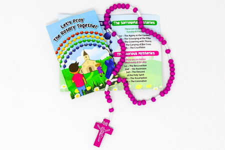 Rosary Booklet & Purple Wooden Rosary.