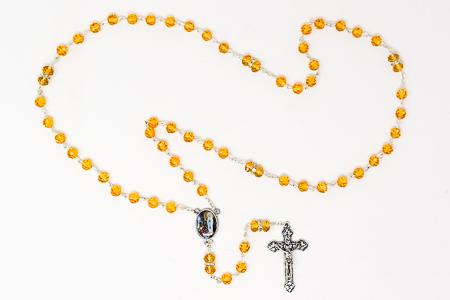 Lourdes Yellow Rosary Beads.