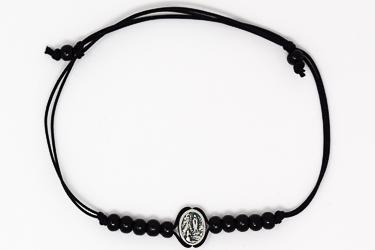Lourdes Black Rope Bracelet.