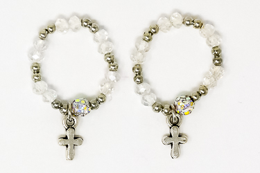 Crystal Finger Rosary Ring.