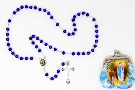Lourdes Rosary Beads & Rosary Purse..
