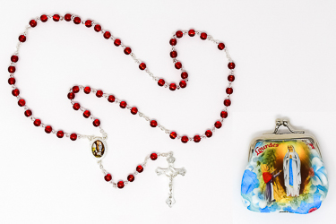 Lourdes Rosary Beads & Rosary Purse..